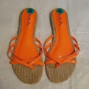 MIA Napolie Orange Flip Flop Sandals Sz 8M